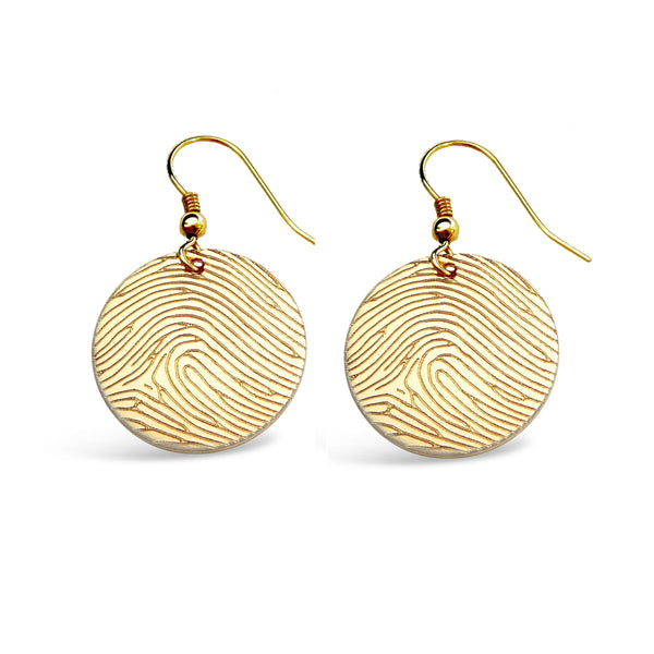 Gold Filled Fingerprint Round Earrings