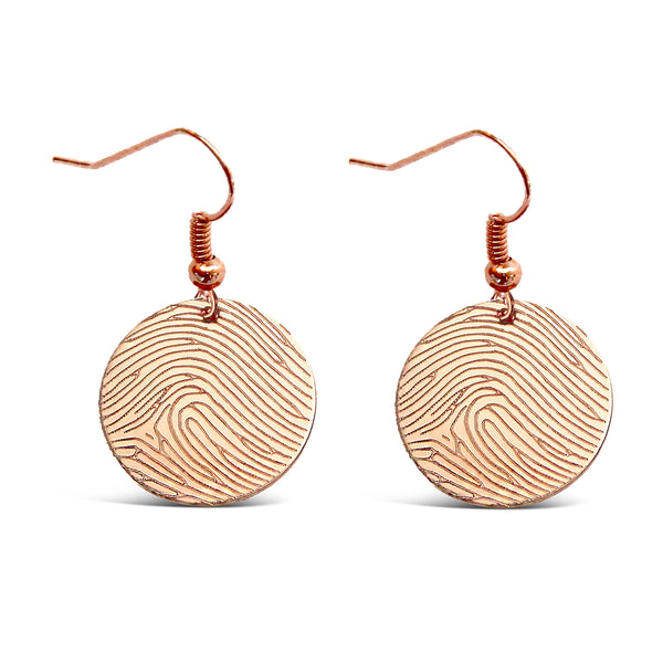 Rose Gold Filled Fingerprint Round Earrings