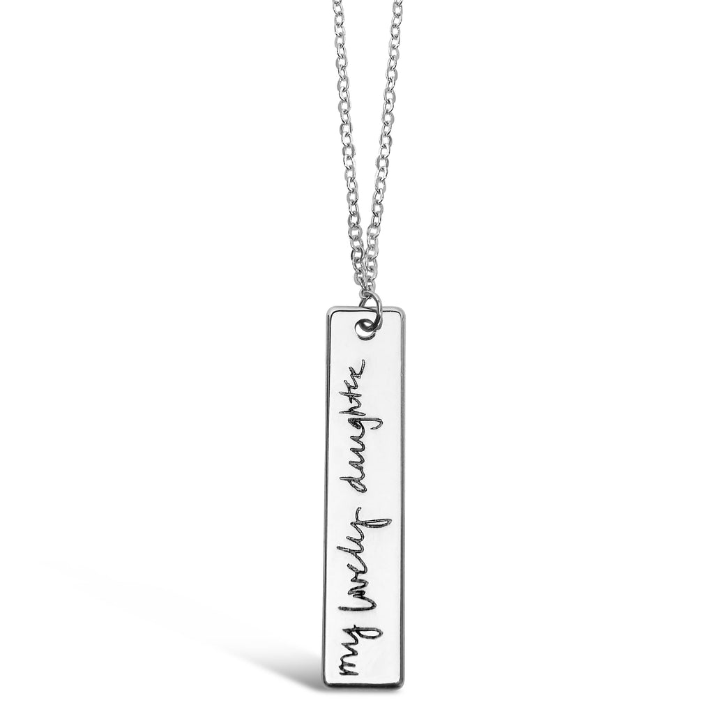 Custom Silver Plated Handwriting Vertical Bar Necklace