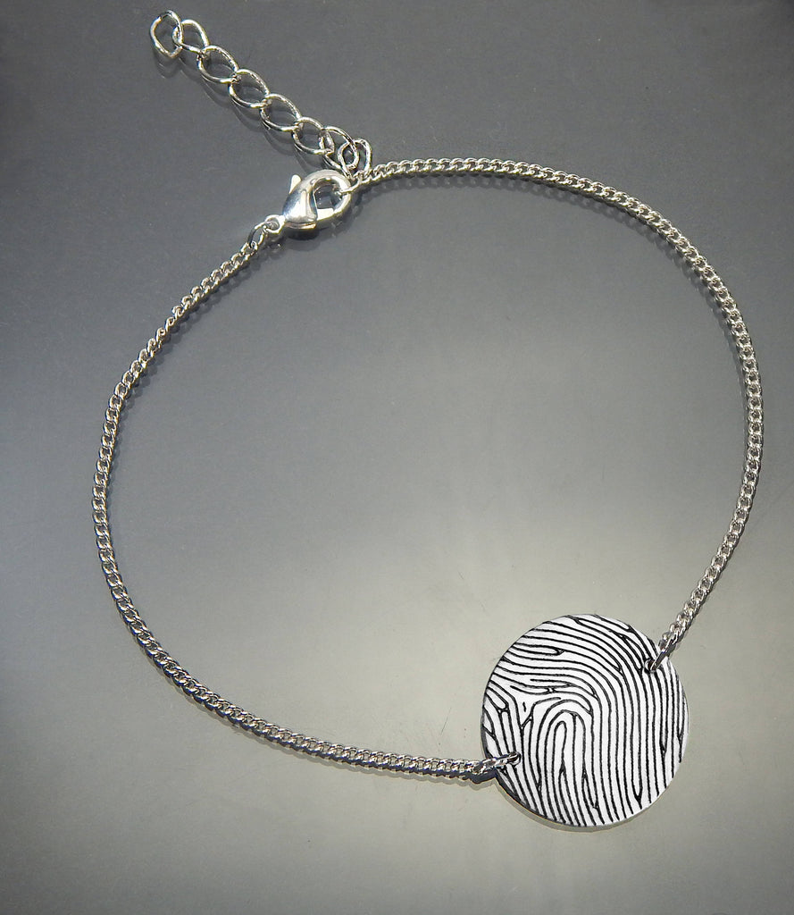 Personalized Sterling Silver Fingerprint Small Round Bracelet