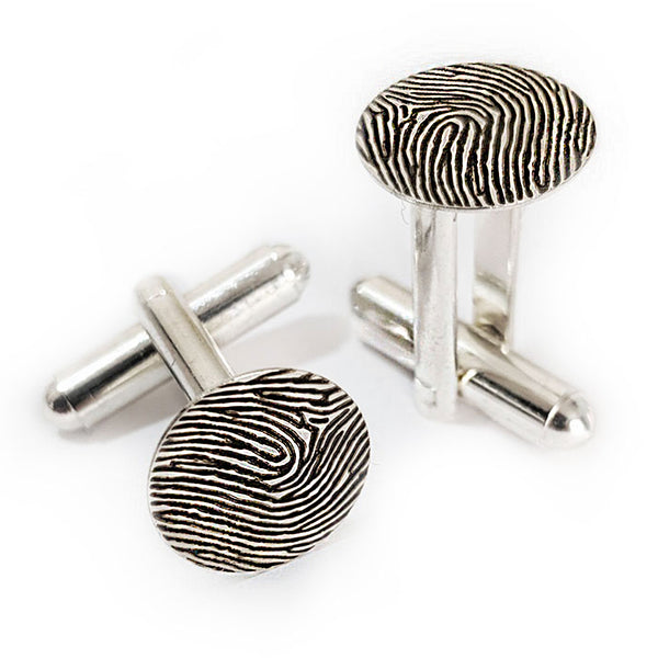 Custom Personalized Fingerprint Cuff Links Silver Plated