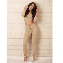 Khaki Crop Hooded Tracksuit Two Pieces