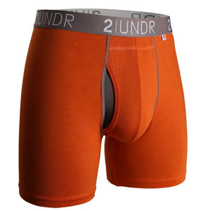 "2UNDR Swingshift 6"" Boxer Brief- Orange/Grey"