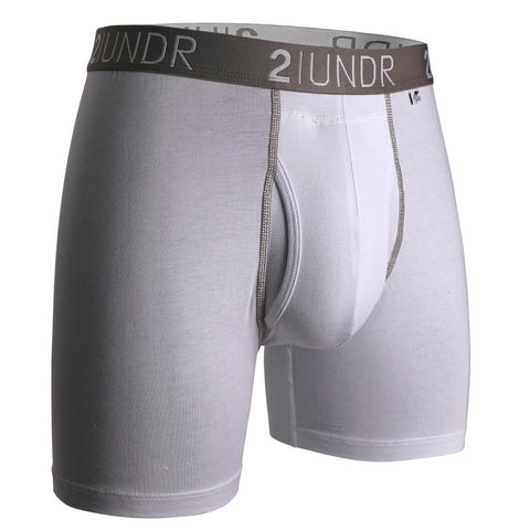 "2UNDR Swingshift 6"" Boxer Brief- White/Grey"