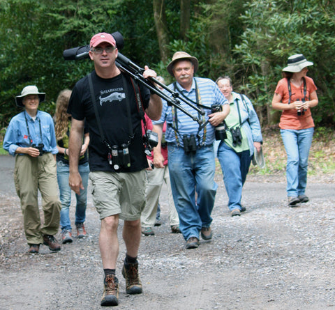 Bill Thompson, III, leading a group at the New River Birding & Nature Festival, 2010.