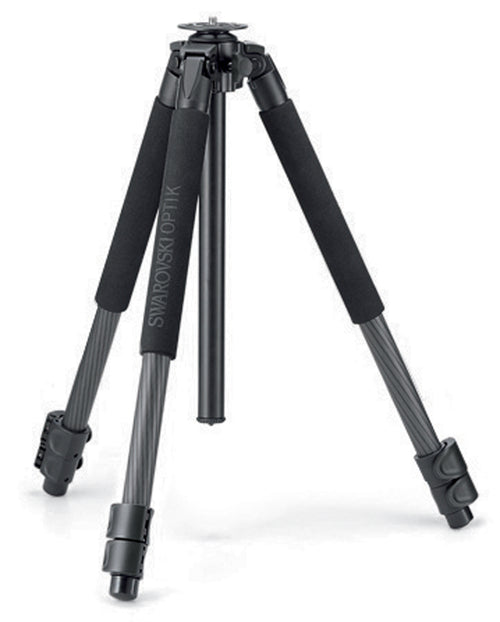 These Swarovski CT 101 carbon fiber tripod legs pair nicely with Swarovski spotting scopes for hiking, traveling, and digiscoping.