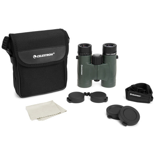 Accessories included with your purchase of the Celestron 8x32 Nature DX are a carry case, strap, rainguard, objective lens covers, and a cleaning cloth.