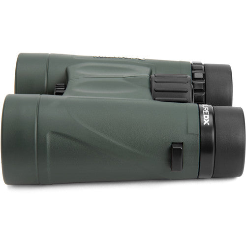 The Celestron 10x42 Nature DX binocular is waterproof, fog-proof, and ready for use in all weather conditions.