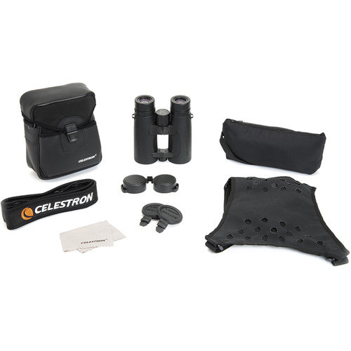 The Celestron 8x42 Granite ED binocular comes with its own case, strap, harness, rainguard, objective lens covers, and cleaning cloth.