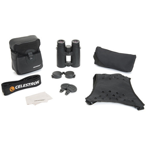 Accessories that come with the Celestron 10x42 Granite ED binocular include a strap, harness, rainguard, and objective lens covers.