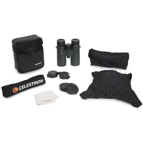 The Celestron 10x42 TrailSeeker binocular comes with a cleaning cloth, case, strap, rainguard, objective lens covers,