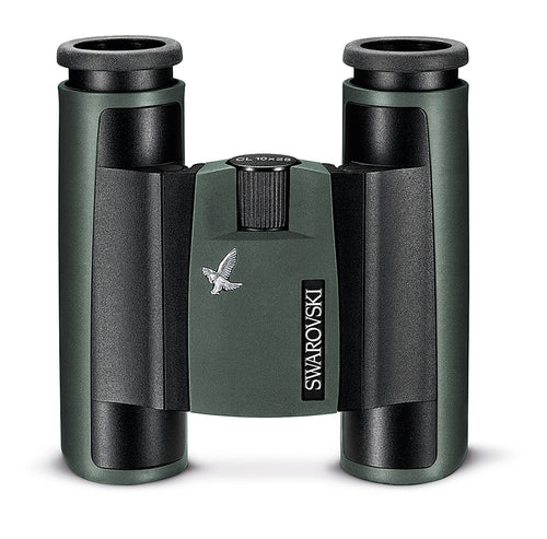 The travel size Swarovski 8x25 CL Pocket Green binocular features an innovative folding double hinge design.