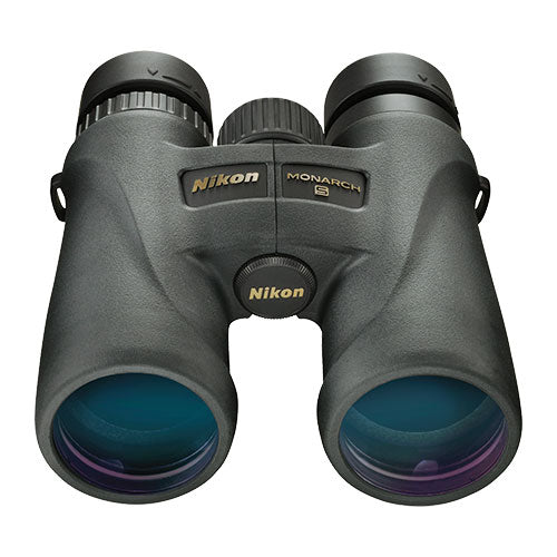 The Nikon Monarch 5 10x42 binocular offers special ED glass and dielectric prism coatings.