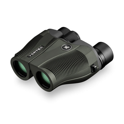 The rugged body and quality optics make the Vortex Vanquish 8x26 a great binocular for traveling.