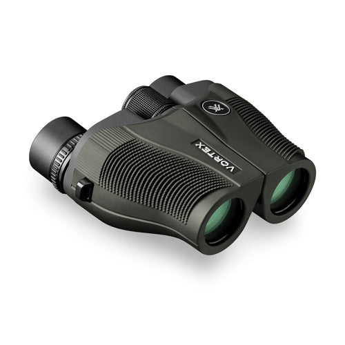 The Vortex Vanquish 8x26 binocular has a 15 mm eye relief, making it a great pocket binocular for glasses wearers.