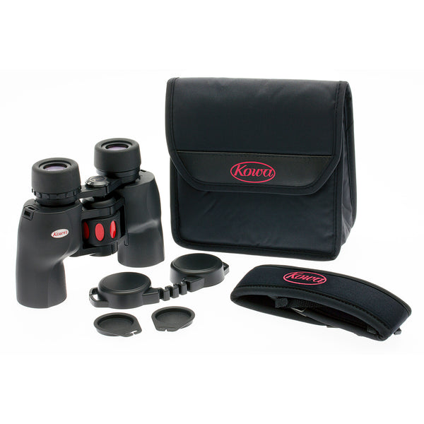 The Kowa 8x30 YF conveniently comes with a strap, carrying case, rainguard, and lens covers.