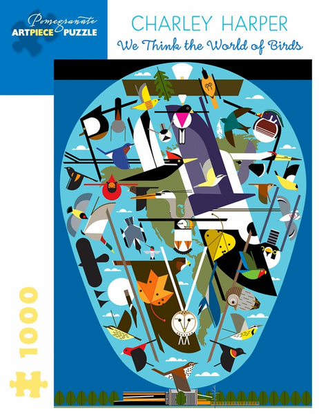 Shop for Charley Harper We Think the World of Birds Puzzle at Redstart Birding.