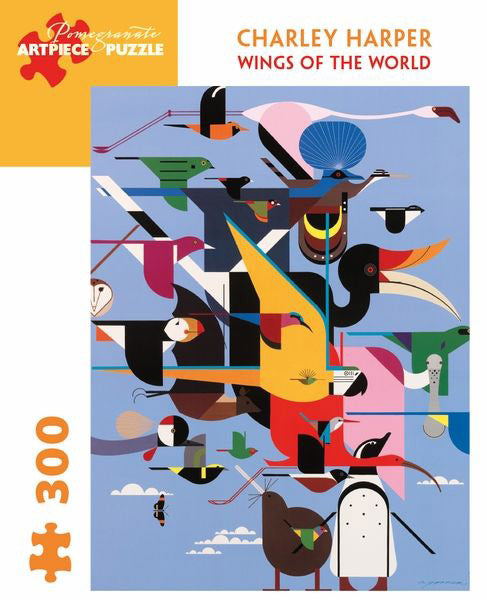 This Wings of the World jigsaw puzzle features Charley Harper's iconic artwork and a kid-friendly design.