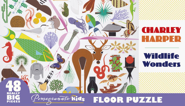 "This Charley Harper ""Wildlife Wonders"" floor jigsaw puzzle features 48 pieces and a nature-inspired design that's perfect for nature lovers."