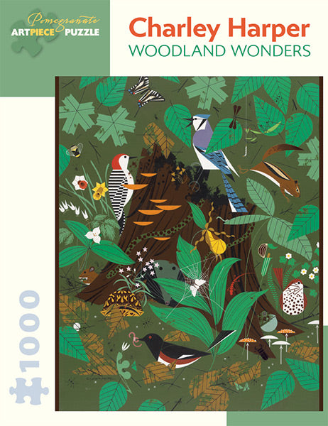 "This Charley Harper ""Woodland Wonders"" jigsaw puzzle features 1000 pieces and a gorgeous array of birds and other animal species."