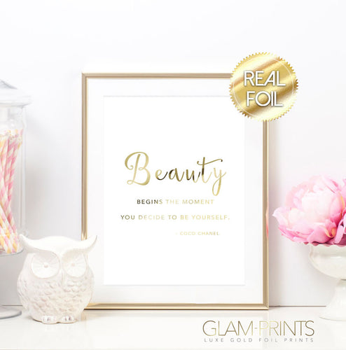 Coco Chanel Beauty Begins Quote Gold Foil Wall Print