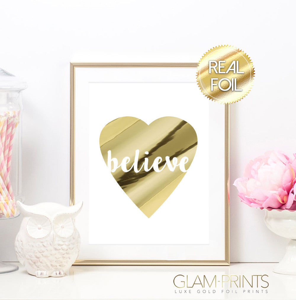 Believe Heart Gold Foil Print