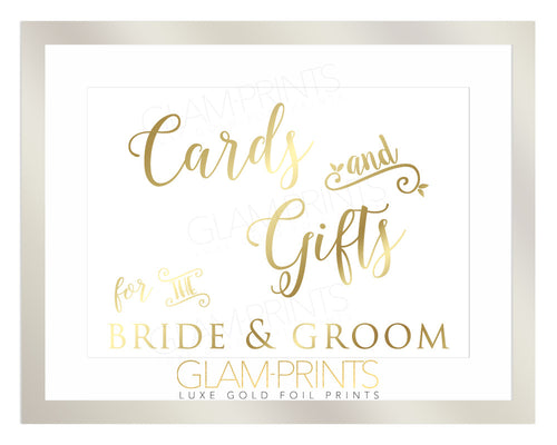 Cards and Gifts for the Bride and Groom Gold Foil Print