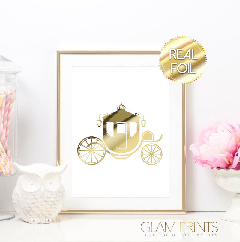 Fairytale Princess Carriage Gold Foil Wall Print