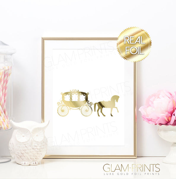 Cinderella Horse Carriage Gold Foil Wall Print