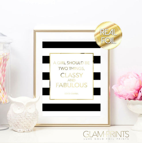 Coco Chanel Classy & Fabulous Striped Gold Foil Wall Print