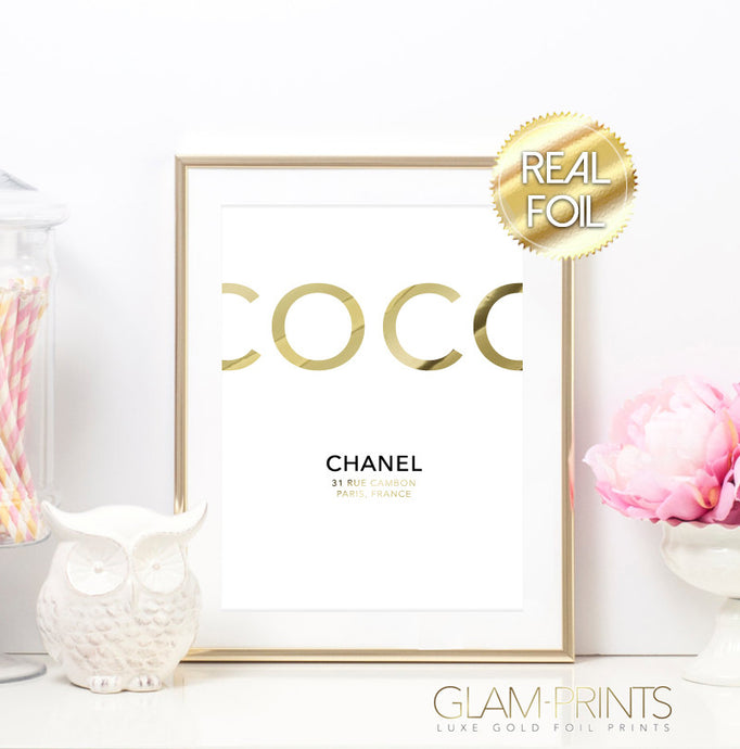 Coco Chanel Original Address Gold Foil Wall Print | Gold Foil Prints