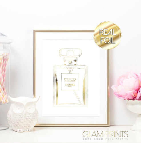 Coco Chanel Perfume Bottle Gold Foil Wall Print