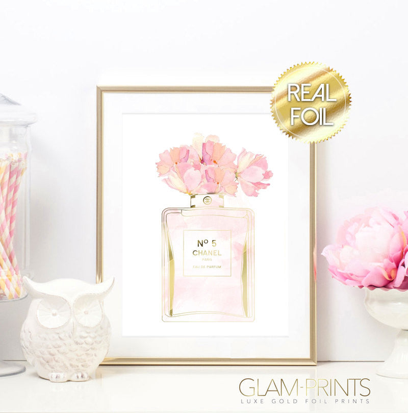 Coco Chanel Perfume Floral Gold Foil Wall Print