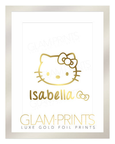 Custom Kitty Gold Foil Print