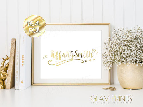 Custom Name Glam Gold Foil Print