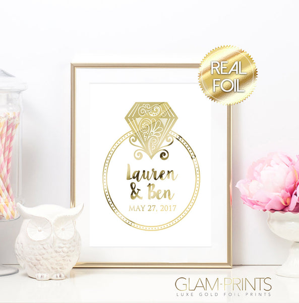 Custom Newlywed Announcement Bridal Gold Foil Wall Print