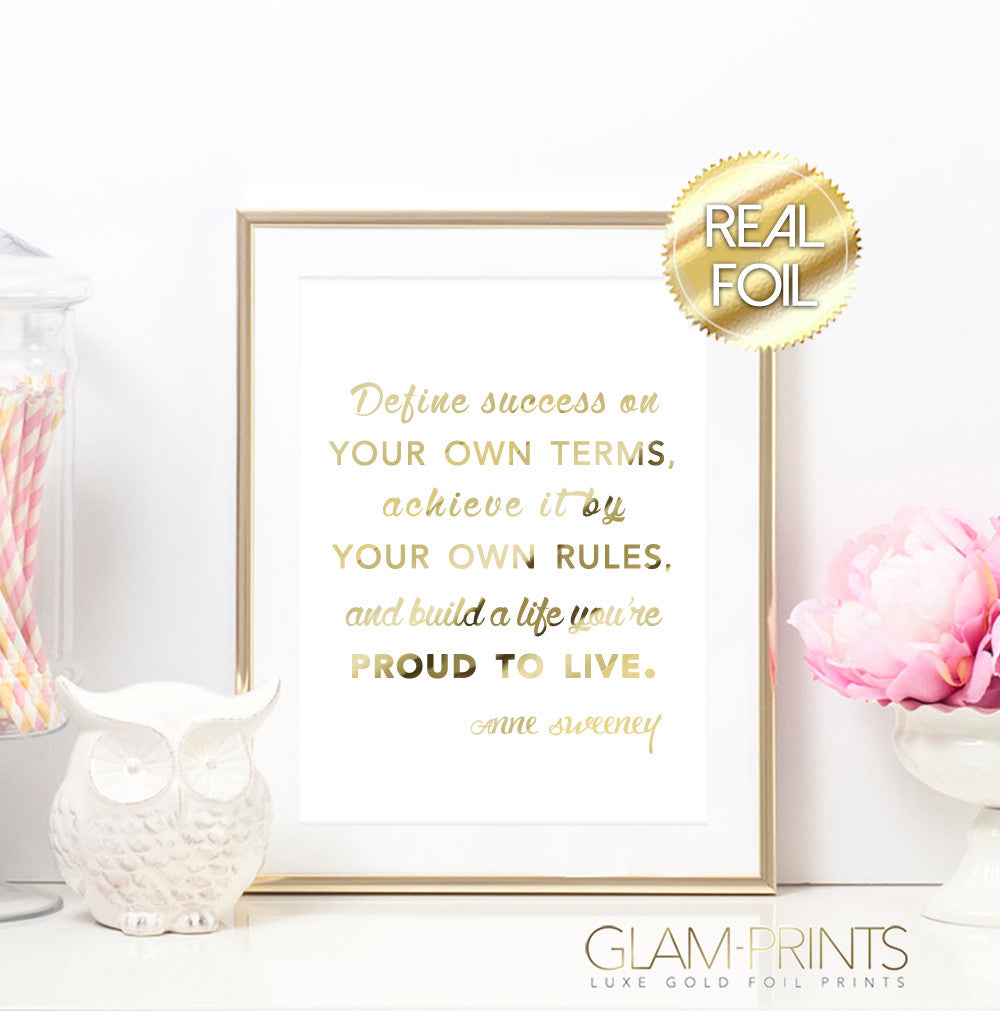 Define Success on your Own Terms Gold Foil Wall Print