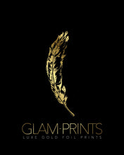 Feather Gold Foil Wall Print (Midnight Black Paper)