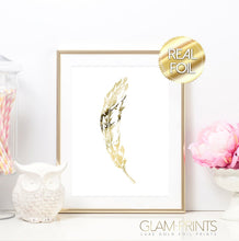 Feather Gold Foil Wall Print (White Paper)