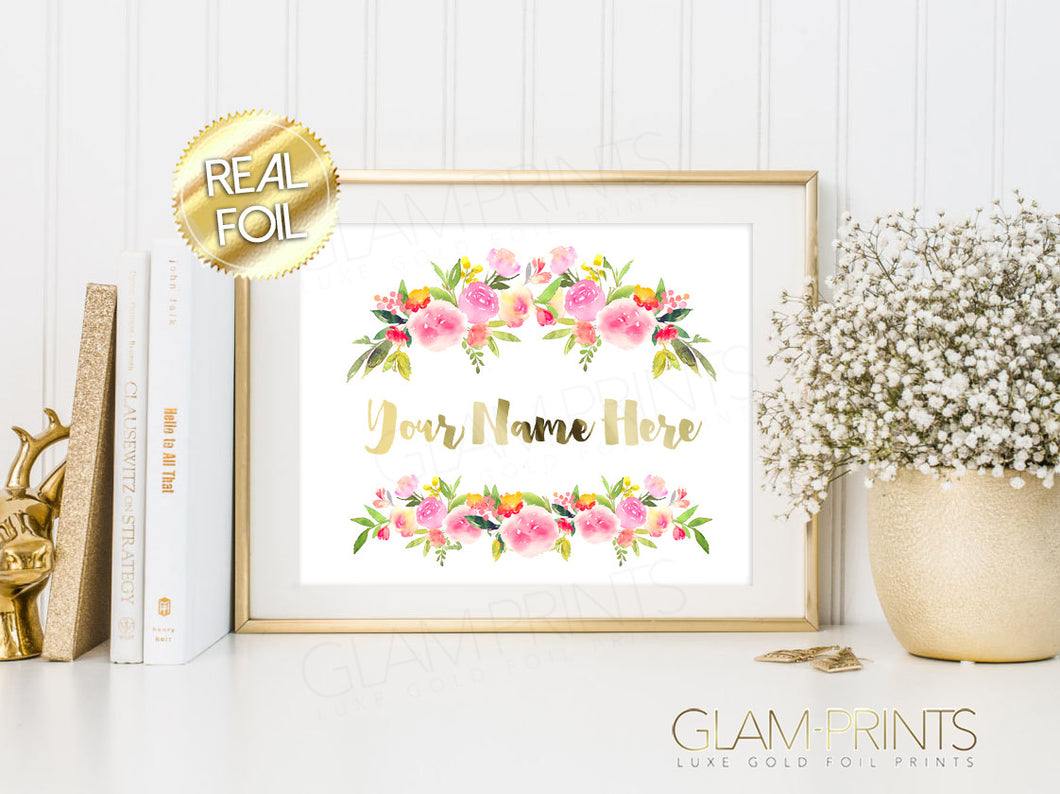 Floral Custom Name Text Gold Foil Wall Print