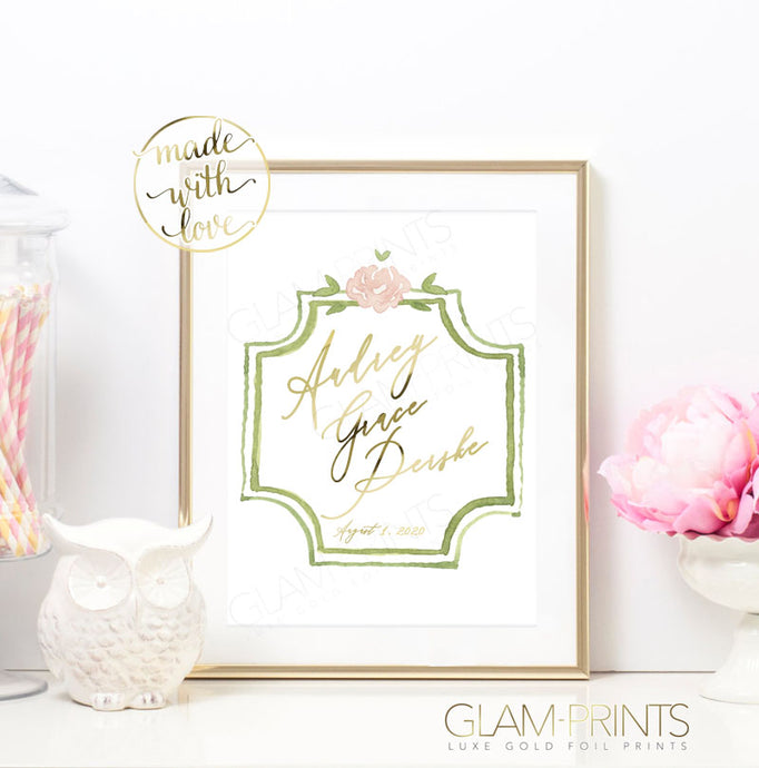 Pretty in Greenery Custom Name Nursery Gold Foil Print