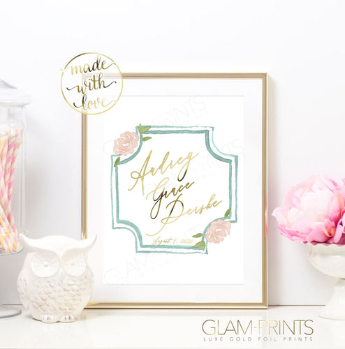 Pretty in Mint Custom Name Nursery Gold Foil Print
