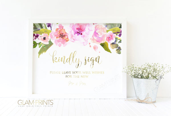 Guestbook Kindly Sign Wedding Bridal Gold Foil Wall Print