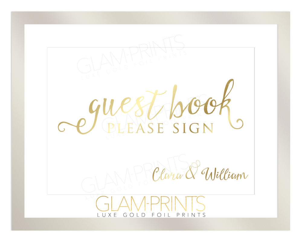 Wedding Guestbook Sign Custom Gold Foil Print