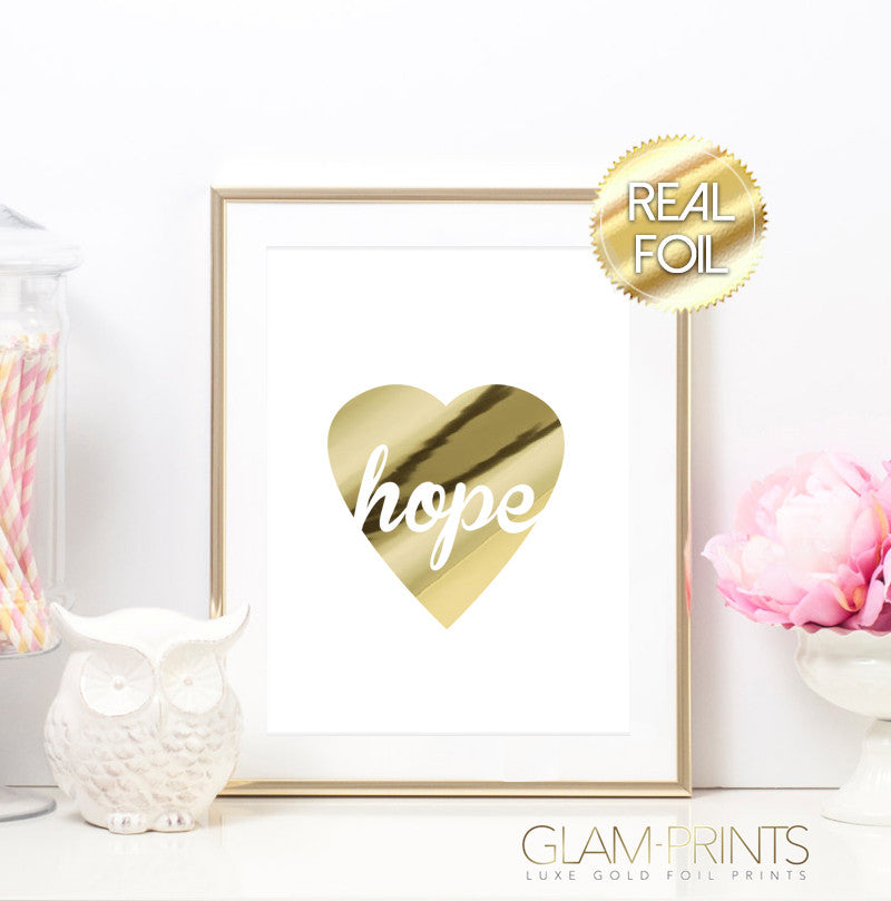 Hope Heart of Gold Foil Art Print Whimsical Girly Welcome Home Decor Wall Art