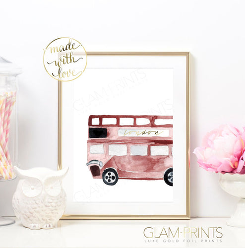 London Red Tour Bus Gold Foil Print