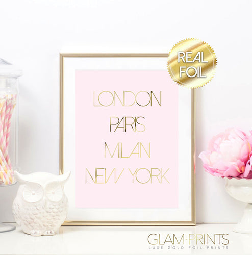 London Paris Milan New York Gold Foil Wall Print
