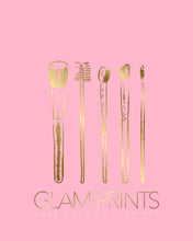 Makeup Brushes Gold Foil Wall Print