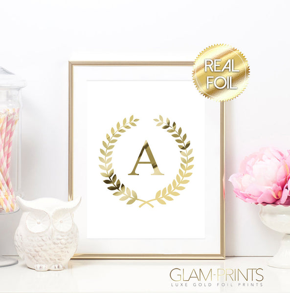 Monogram Initial Roman Laurel Wreath Gold Foil Print