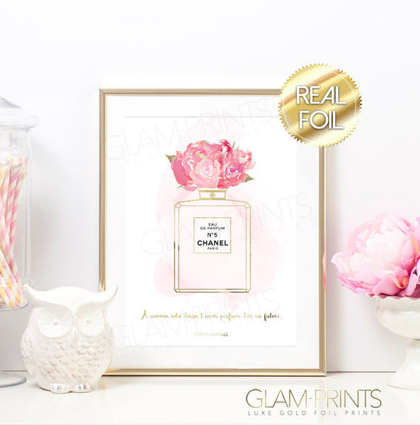 Coco Chanel No 5 Peonies Perfume Gold Foil Wall Print